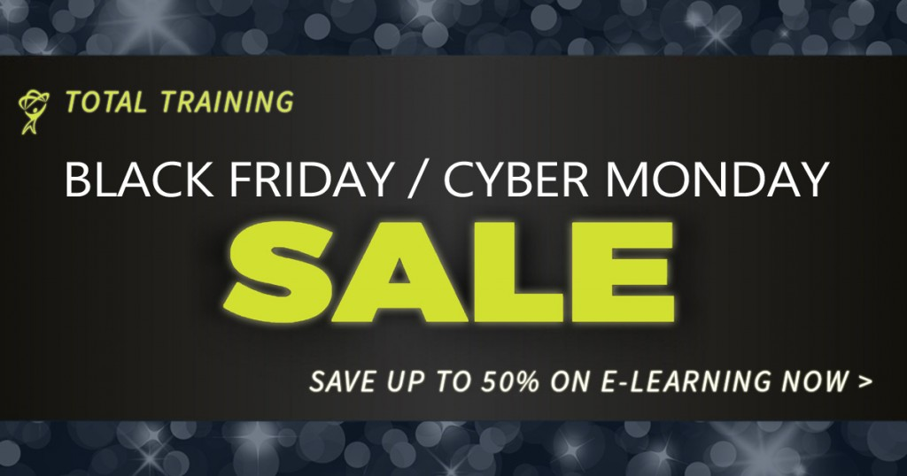 Cyber Monday Sale going on now at totaltraining.com