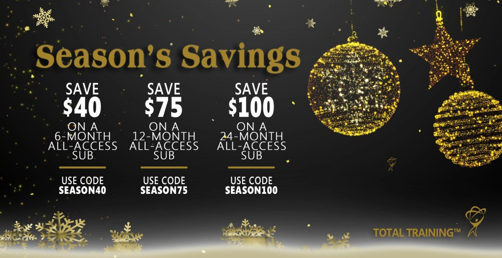 Ring in the new year with saving up to $100 at totaltraining.com