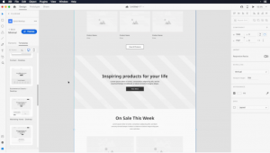 Example of templates in Adobe XD